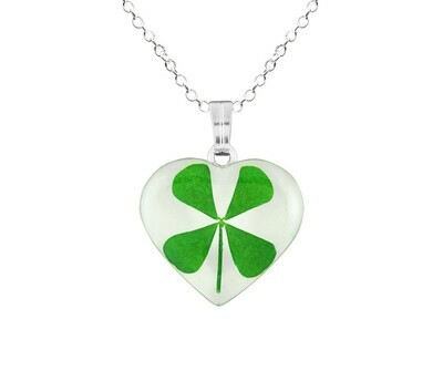 Clover Necklace, Medium Heart, White Background