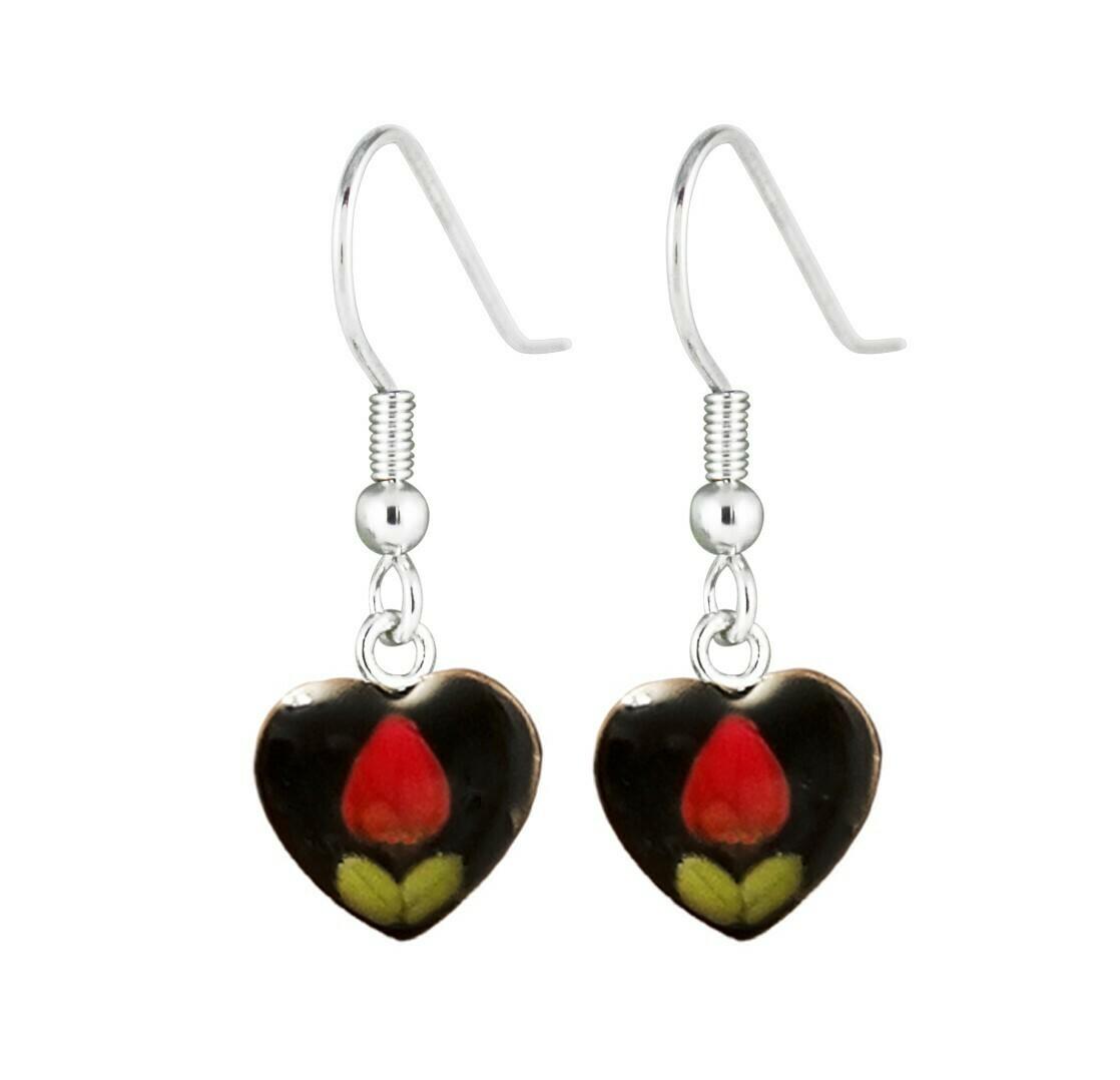 Rose, Heart Hanging Earrings, Black Background.