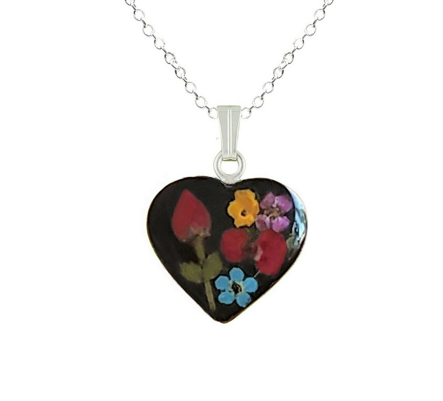 Rose & Mix Flowers Necklace, Medium Heart, Black Background