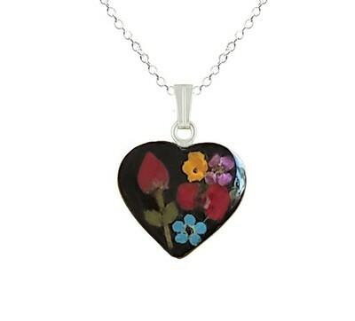Rose & Mix Flowers Necklace, Medium Heart, Black Background