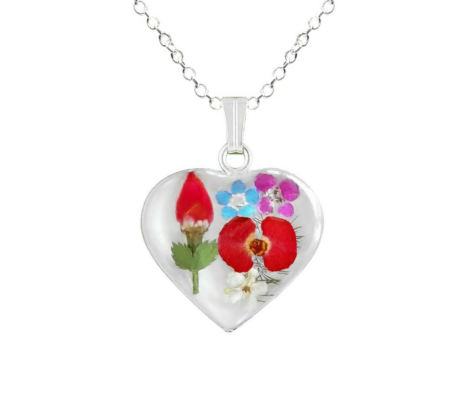 Rose & Mix Flower Necklace, Small Heart, White Background