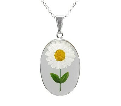 Daisy Necklace, Large Oval, Transparent