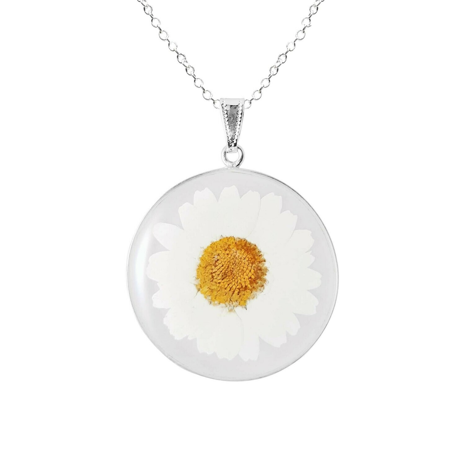 Daisy Necklace, X-Large Circle Pendant, Transparent