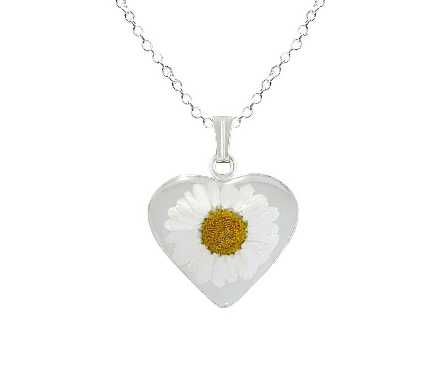Daisy Necklace, Medium Heart, Transparent