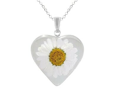 Daisy Necklace, Large Heart, Transparent