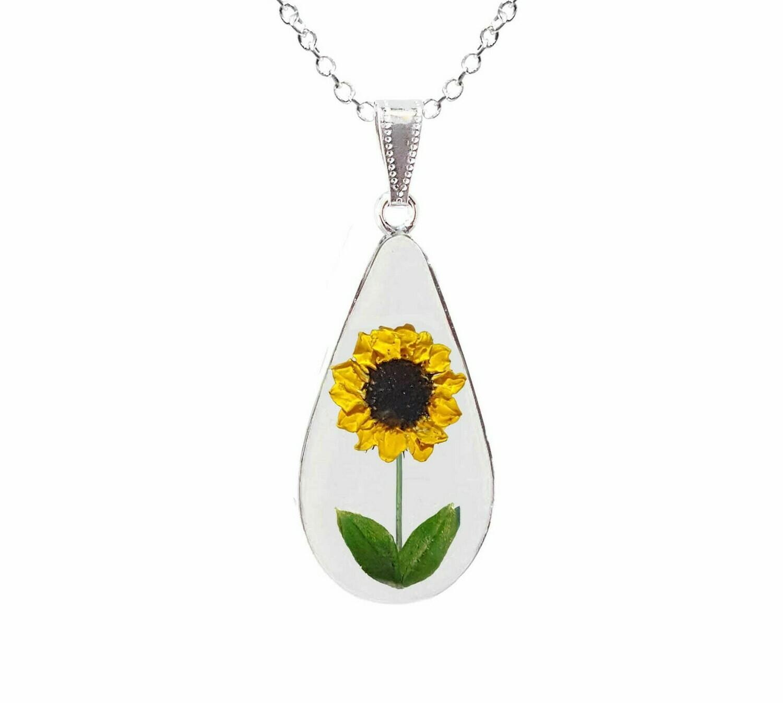 Sunflower Necklace, Large Teardrop, Transparent