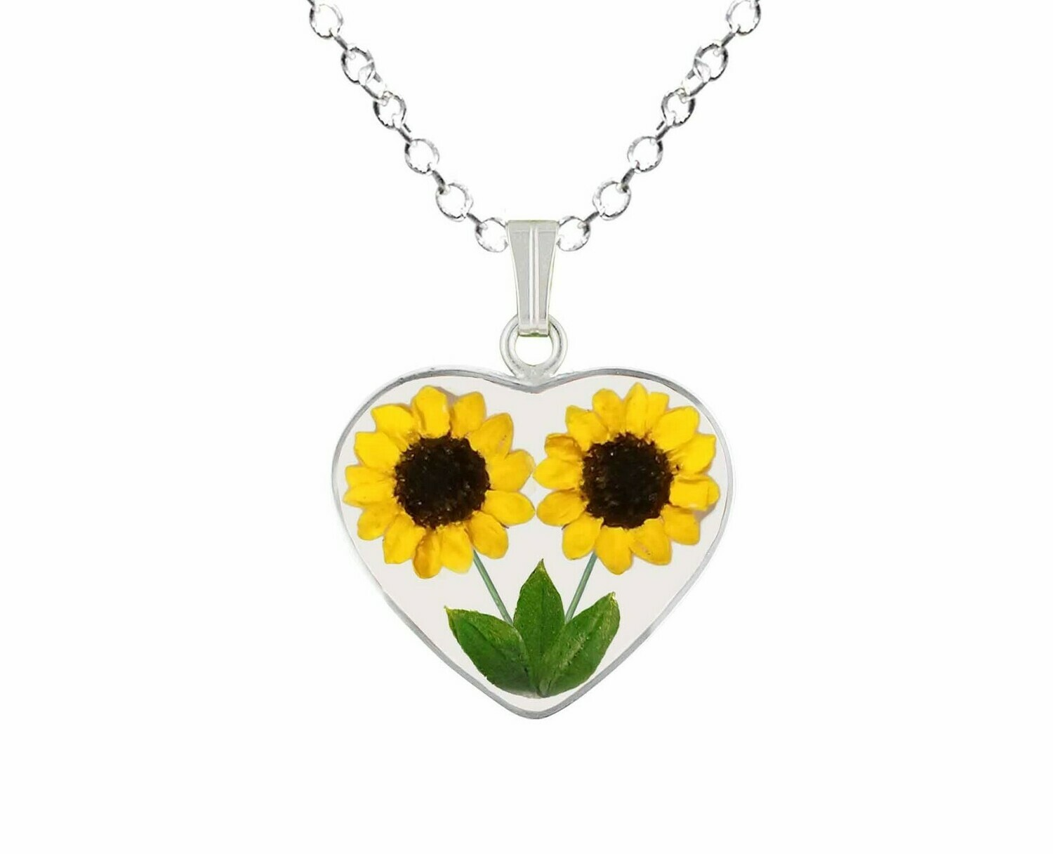 Sunflower Necklace, Medium Heart, Transparent