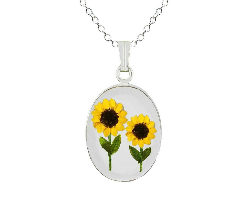 Sunflower Necklace, Medium Oval, Transparent