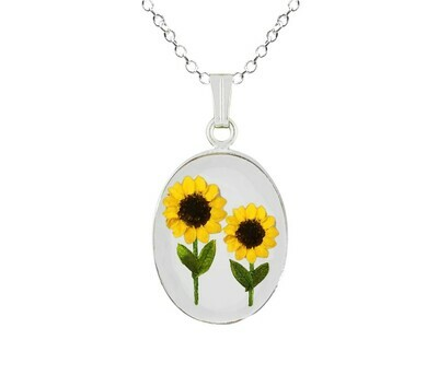 Sunflower Necklace, Medium Oval, Transparent