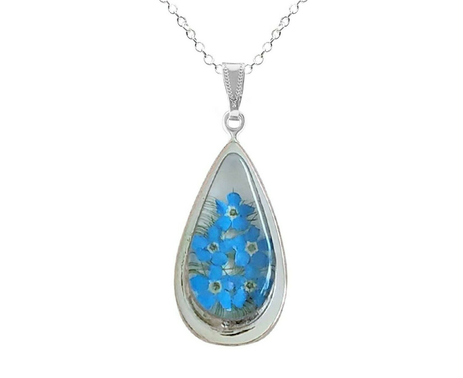 Forget me Not Necklace, X-Large Teardrop, White background.