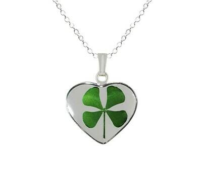 Clover Necklace, Medium Heart, Transparent