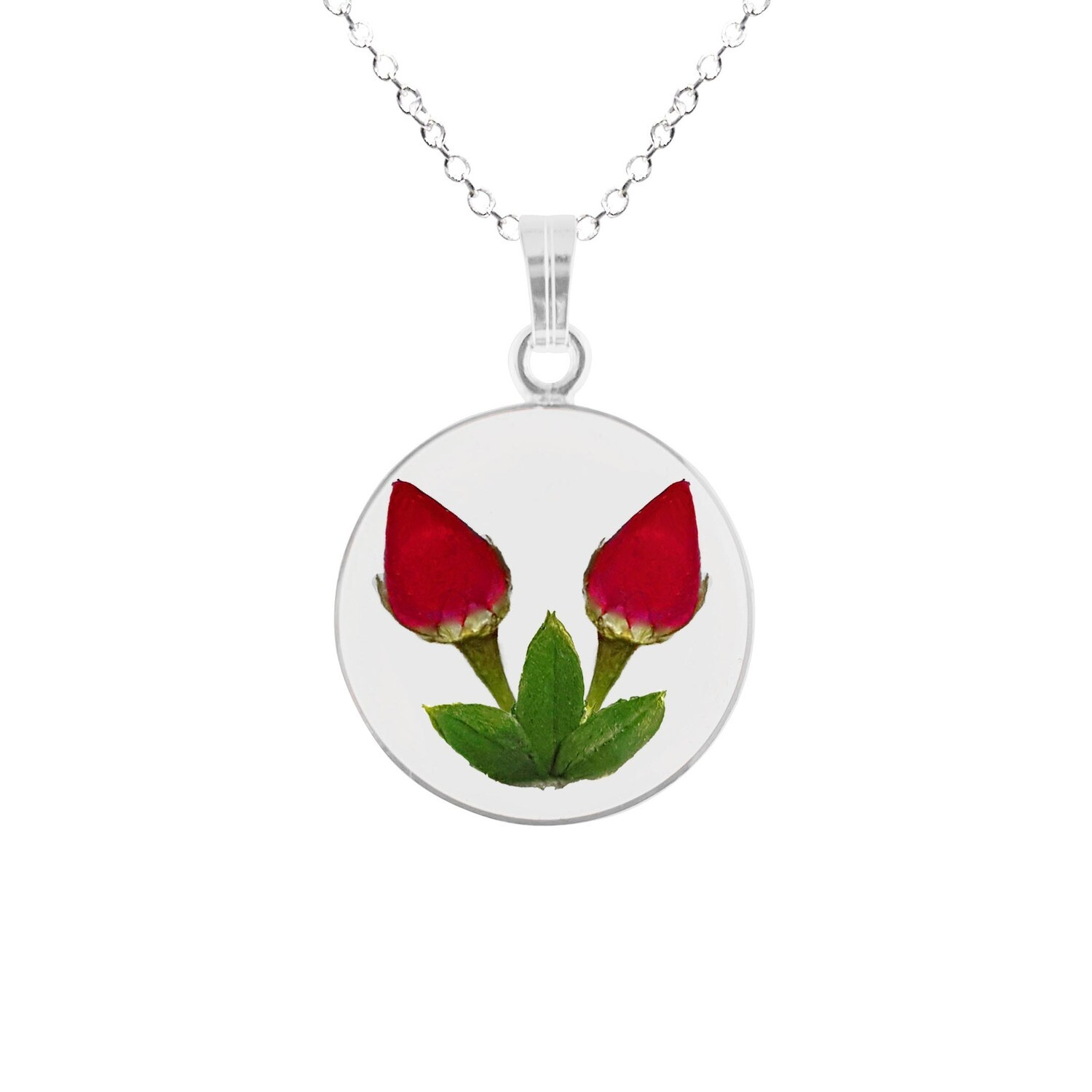 Rose Necklace, Medium Circle, Transparent
