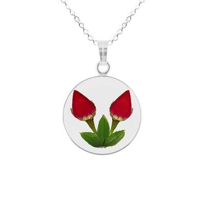Rose Necklace, Medium Circle, Transparent