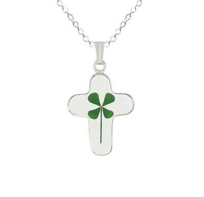 Real Clover Necklace, Medium Cross, Transparent
