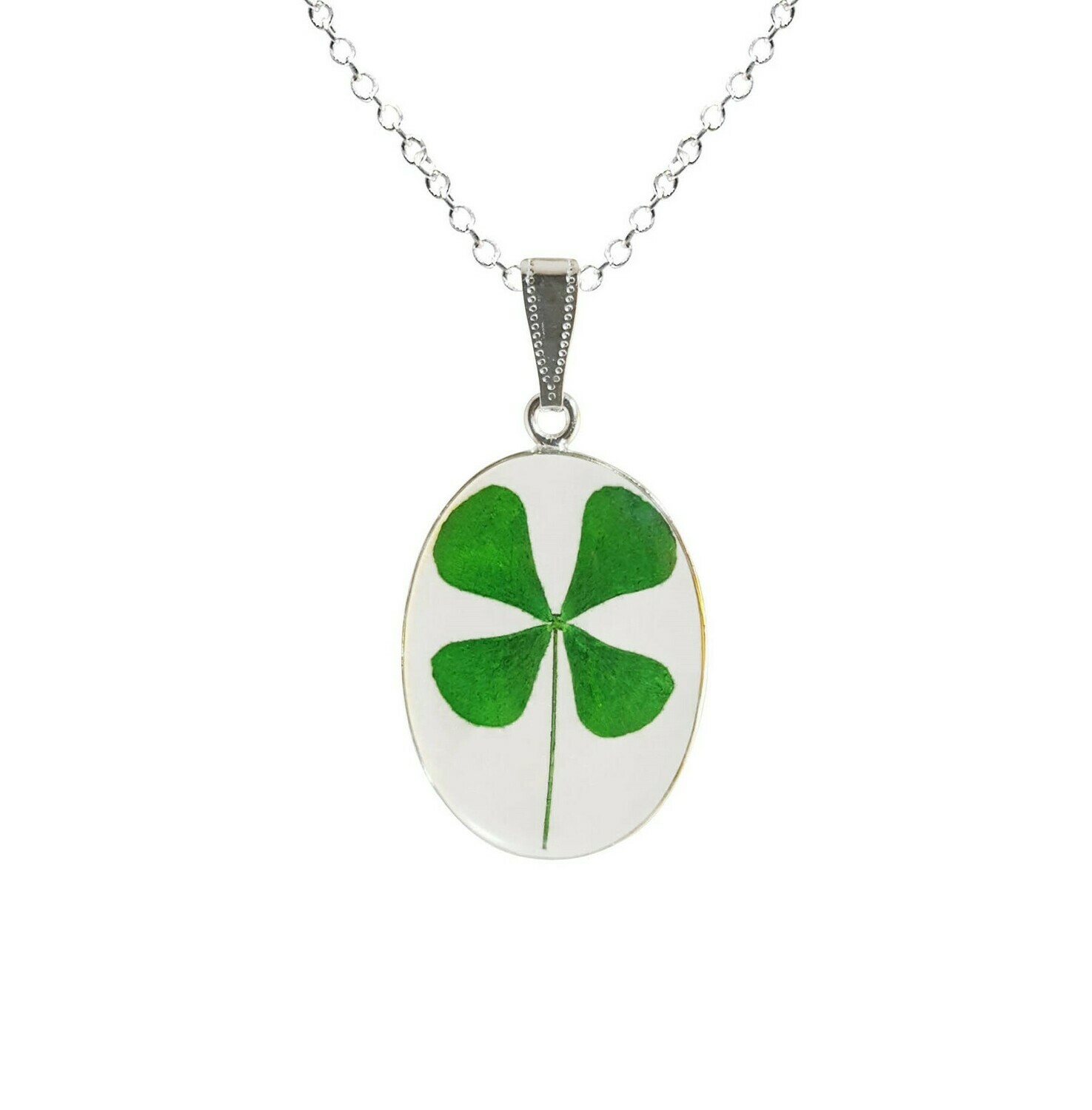 Clover Necklace, Medium Oval, Transparent