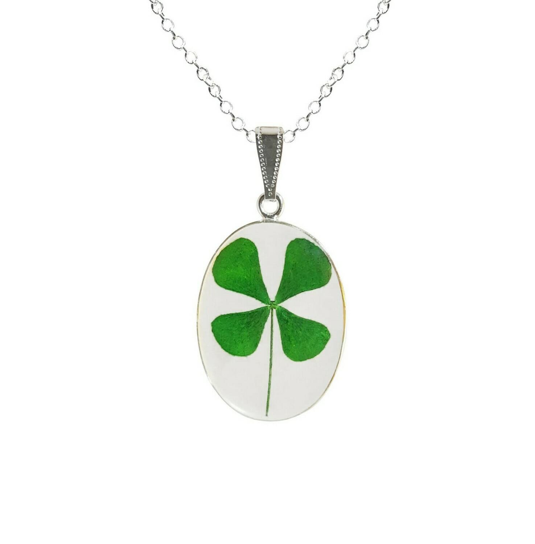Clover Necklace, Medium Oval, Transparent