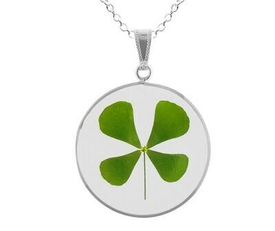 Clover Necklace, Large Circle, Transparent