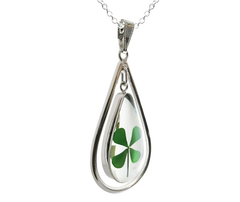 Clover Necklace, Swivel X-Large Oval, Transparent