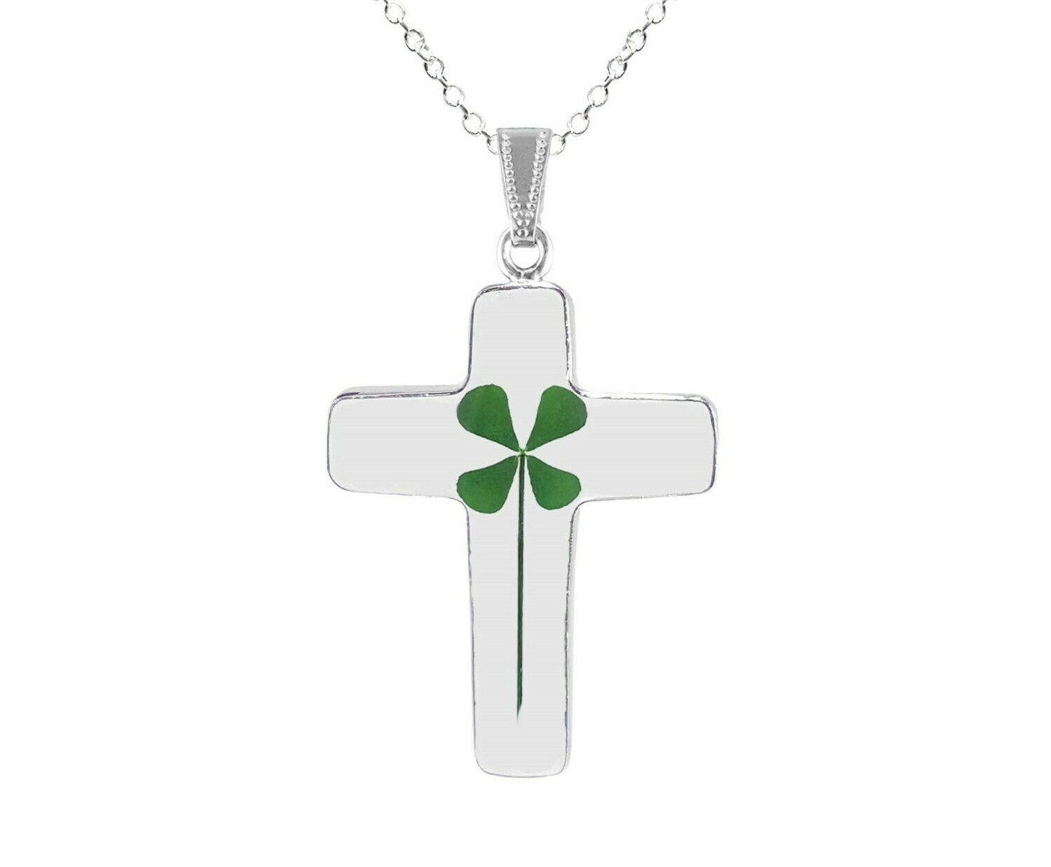 Clover Necklace, Large Cross, Transparent.