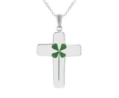 Clover Necklace, Large Cross, Transparent.