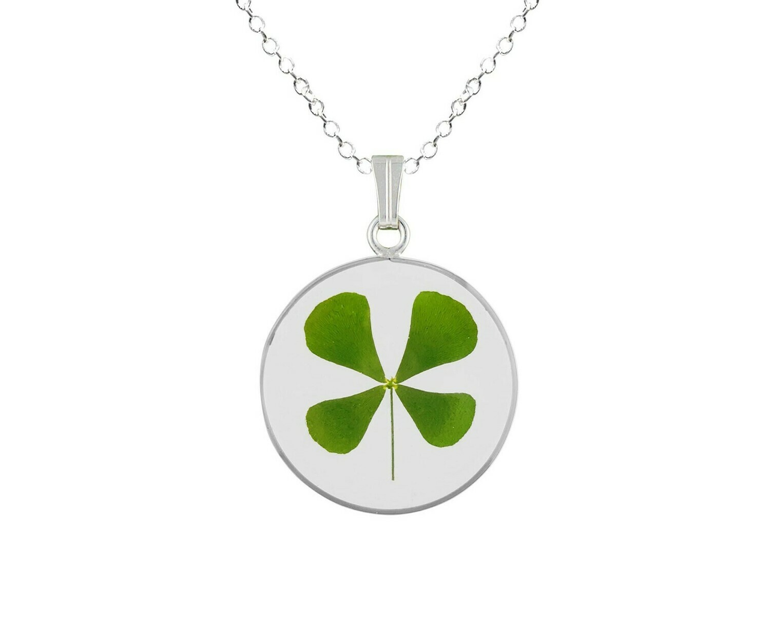 Clover Necklace, Medium Circle, Transparent