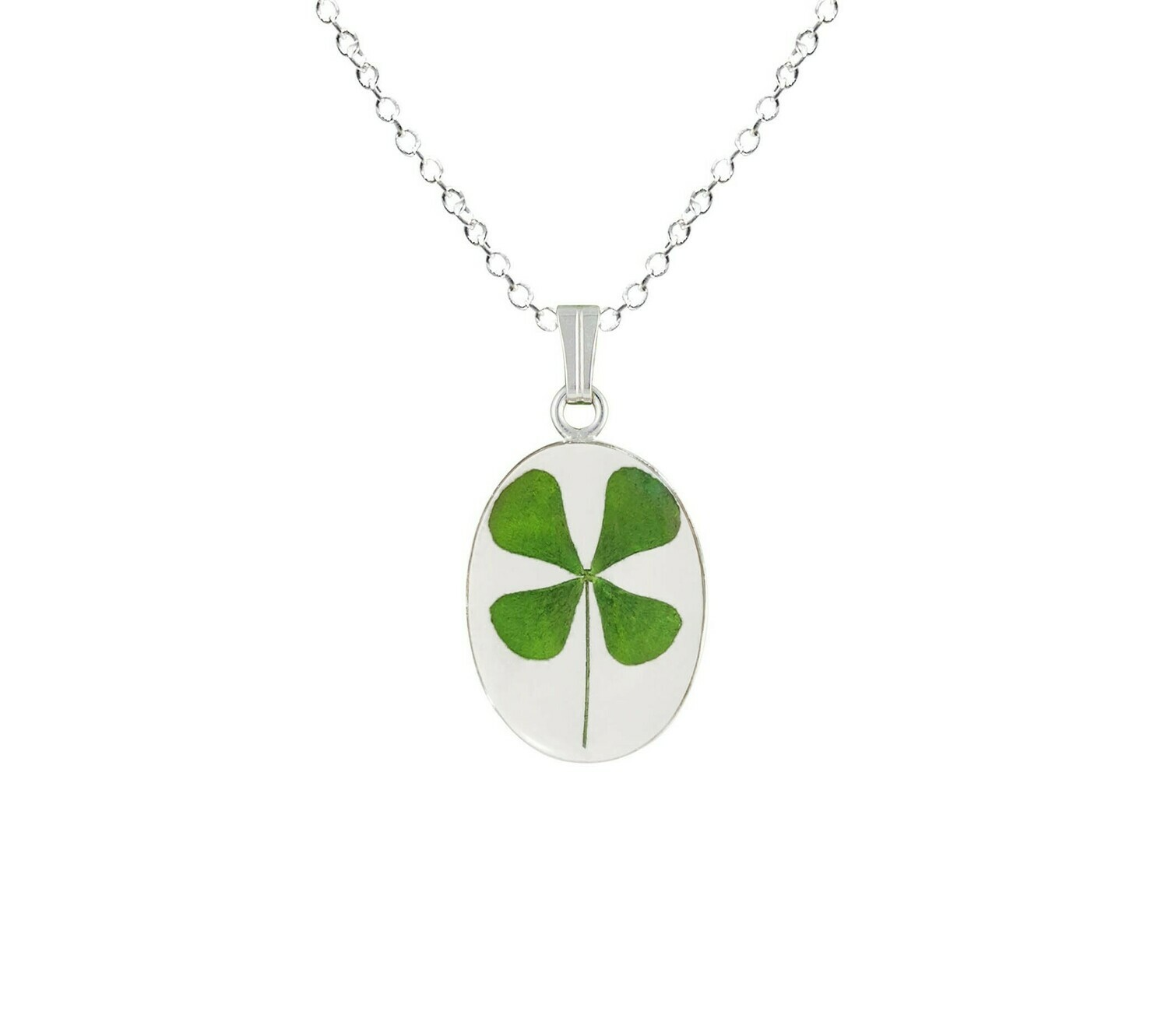 Clover Necklace, Small Oval, Transparent