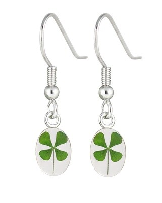 Clover Earrings, Small Oval, Transparent.