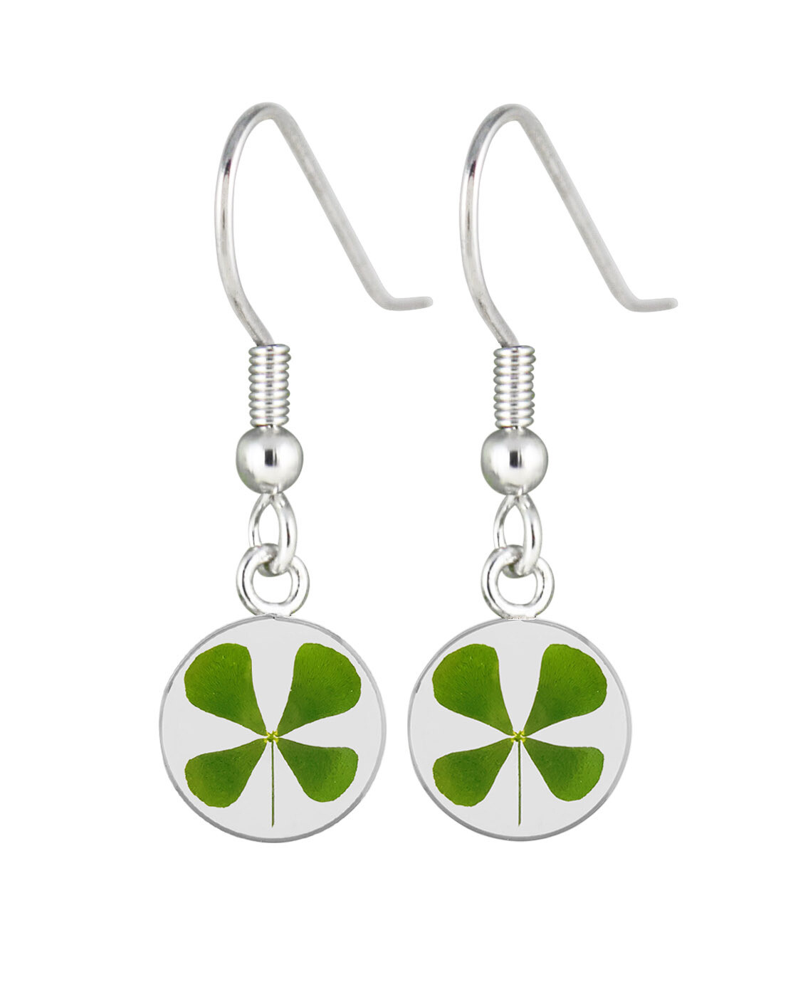 Clover Earrings, Small Circle, Transparent.
