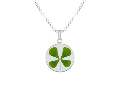Clover Necklace, Small Circle, Transparent.