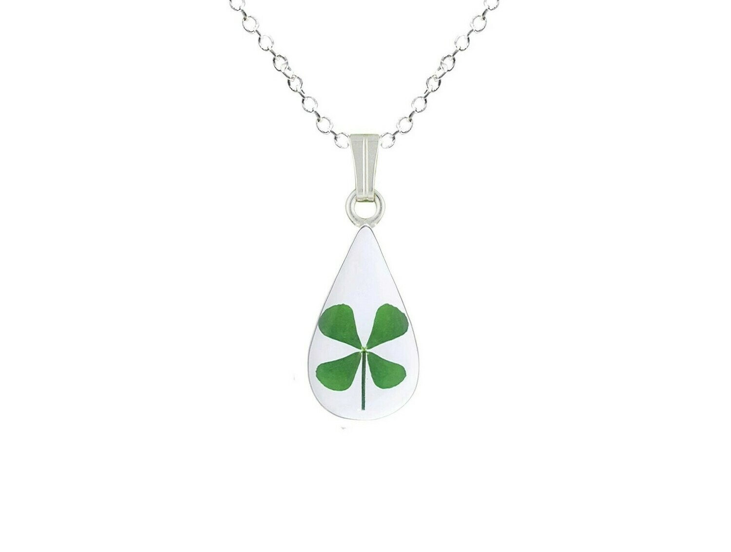 Clover Necklace, Small Teardrop, Transparent.