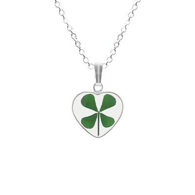 Clover Necklace, Small Heart, Transparent