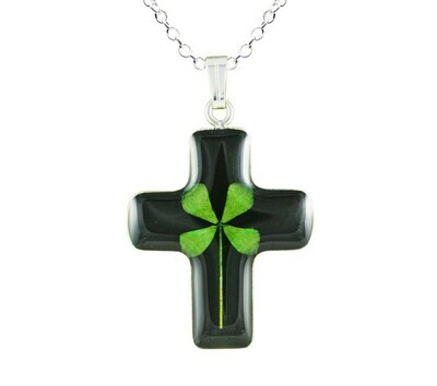 Clover Necklace, Medium Cross, Black Background