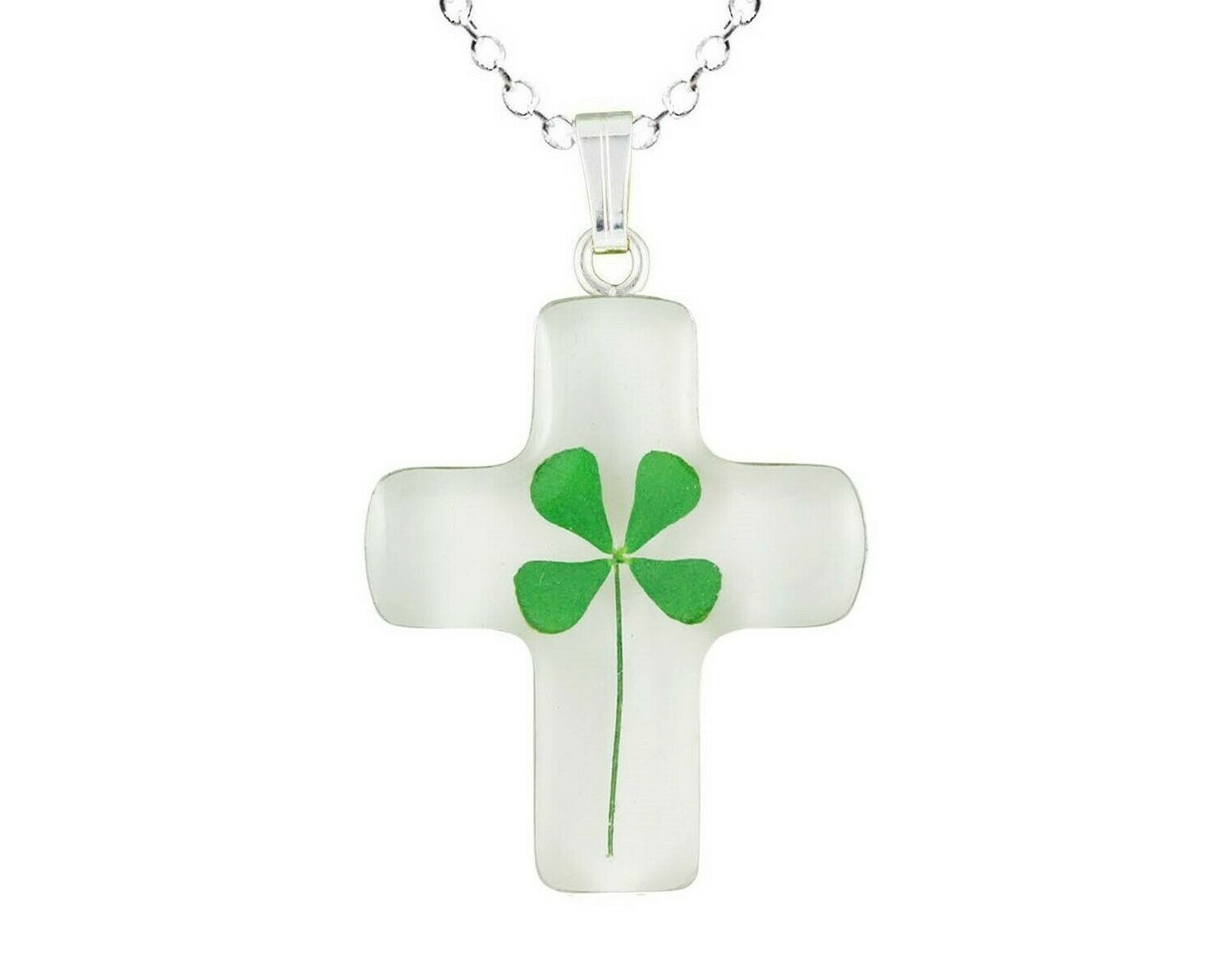 Clover Necklace, Medium Cross, White Background
