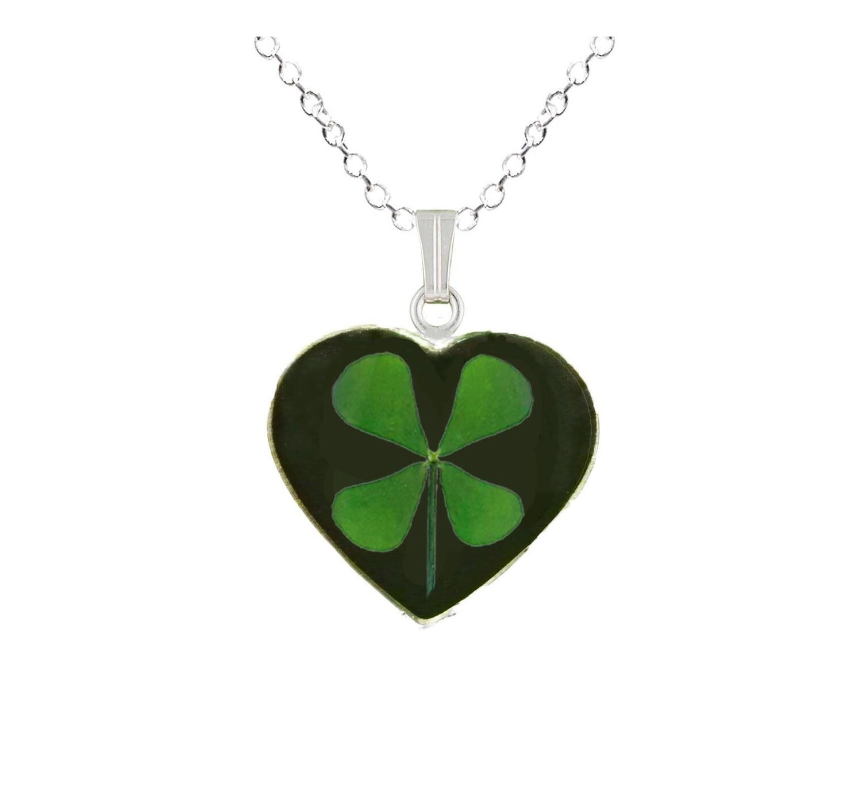 Clover Necklace, Medium Heart, Black Background