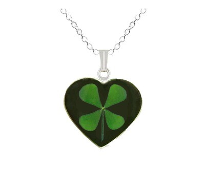 Clover Necklace, Medium Heart, Black Background