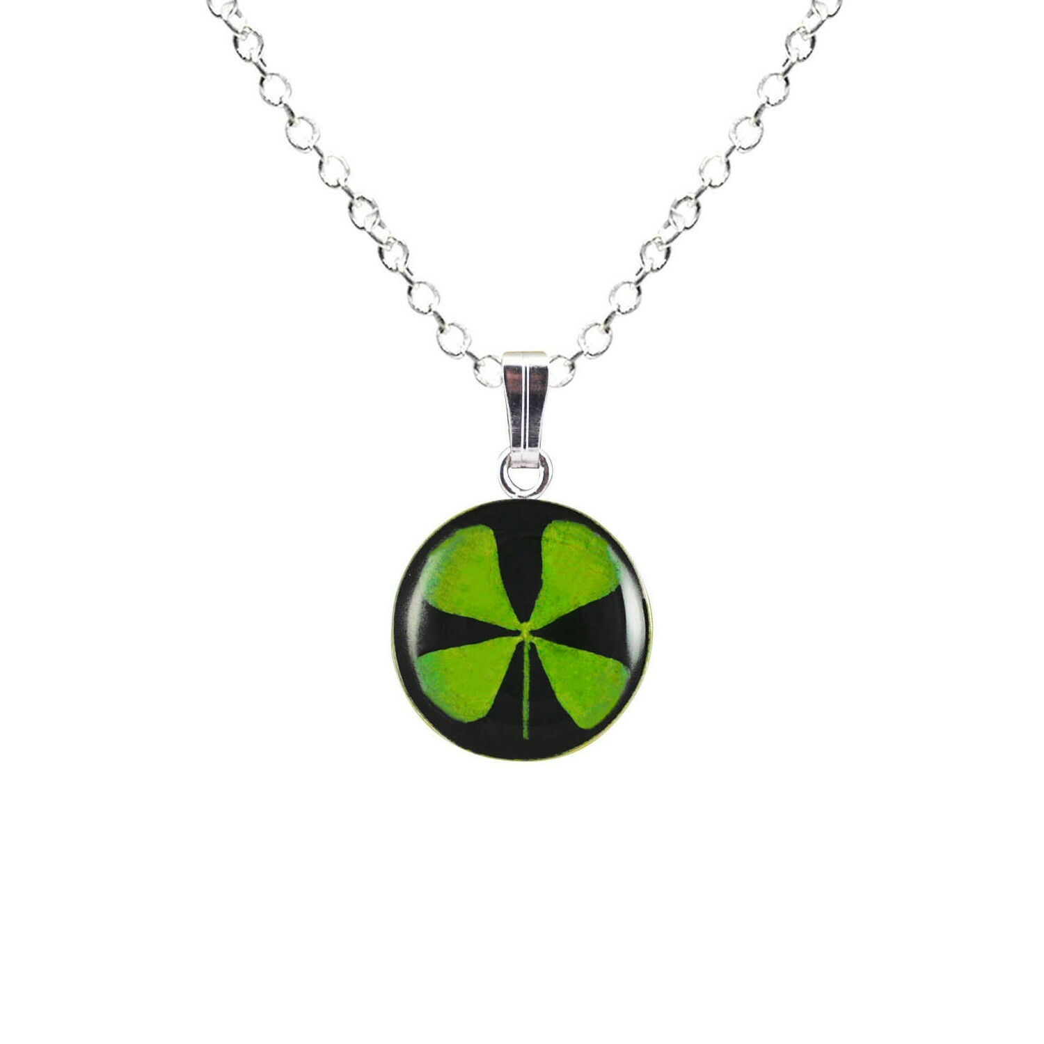 Clover Necklace, Small Circle, Black Background