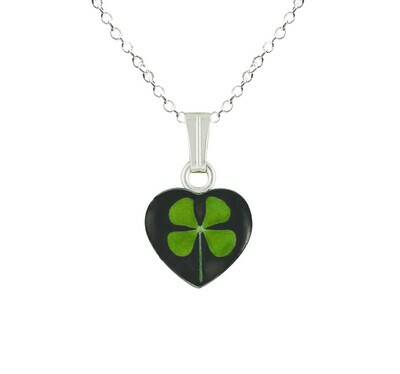 Clover Necklace, Small Heart, Black Background