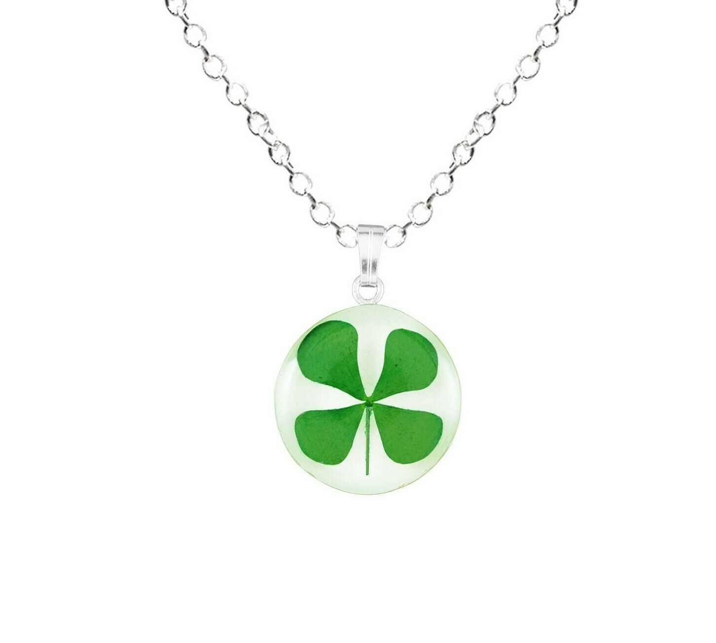 Clover Necklace, Small Circle, White Background