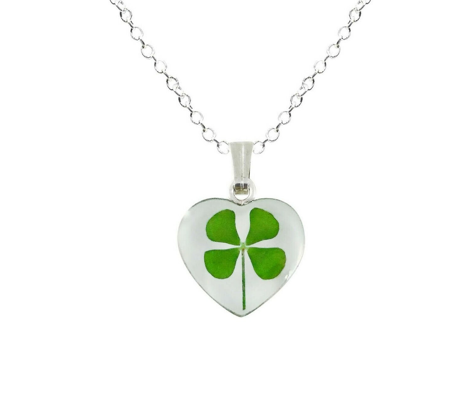 Clover Necklace, Small Heart, White Background