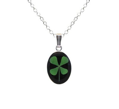 Clover Necklace, Small Oval, Black Background