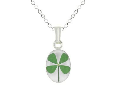Clover Necklace, Small Oval, White Background