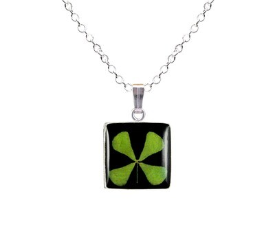Clover Necklace, Small Square, Black Background