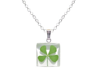Clover Necklace, Small Square, White Background