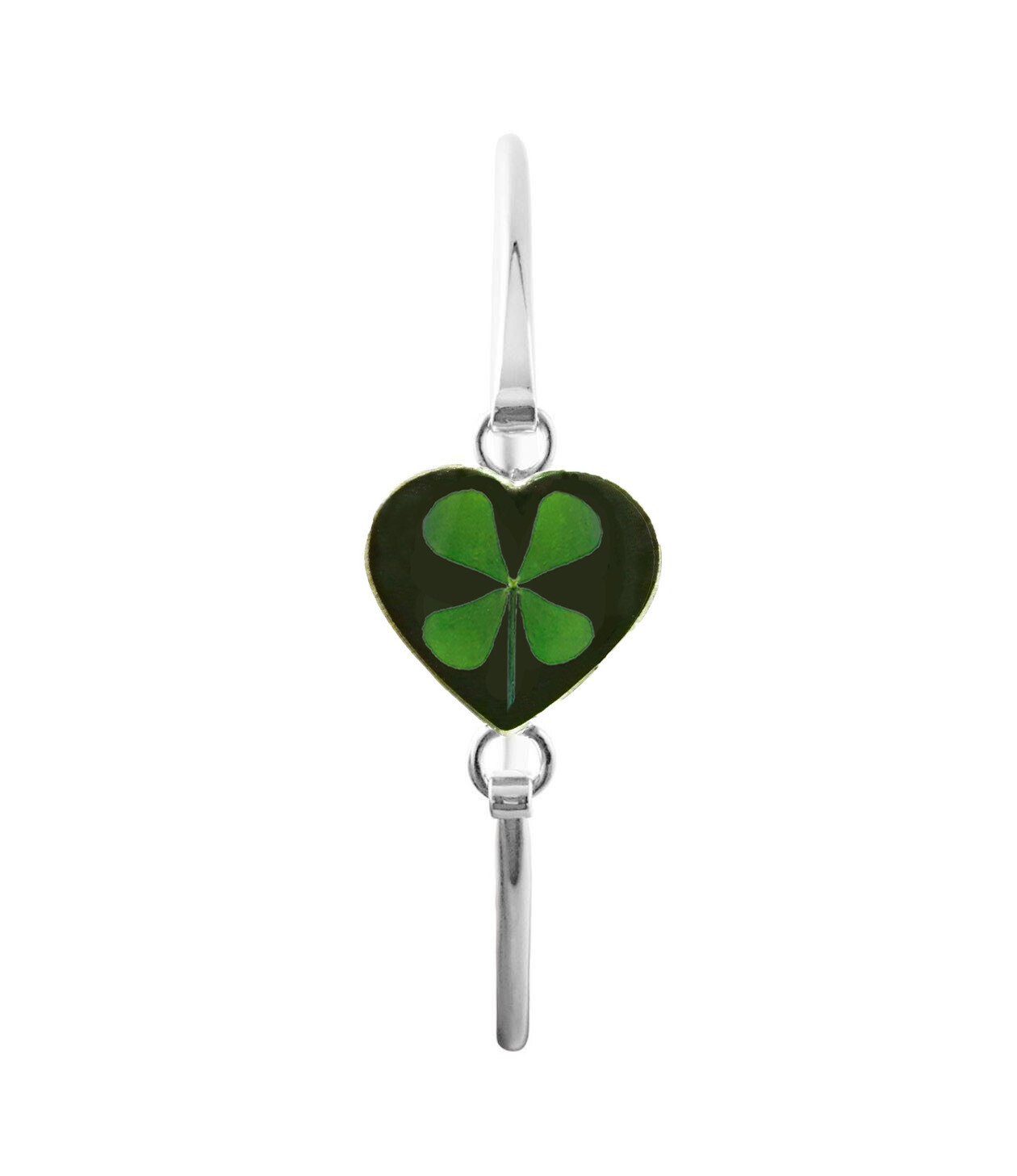 Four-Leaf Clover, Heart Bracelet, Black Background