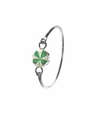 Four-Leaf Clover, Circle Bracelet, Transparent