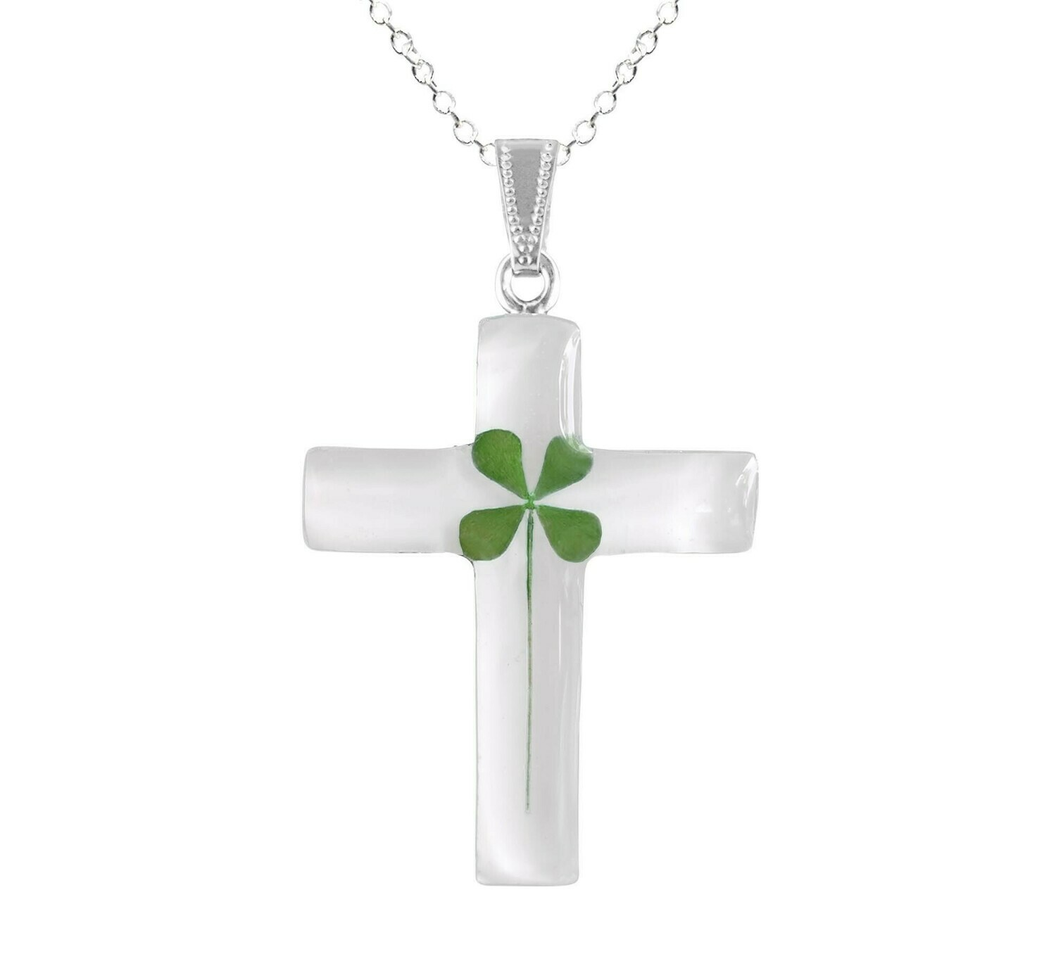 Clover Necklace, Large Cross, Black Background