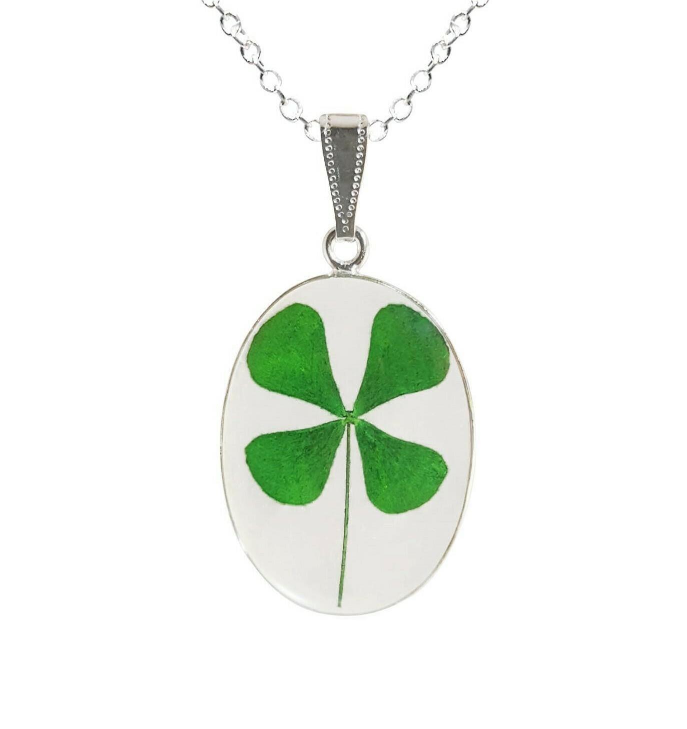 Clover Necklace, Large Oval, Transparent