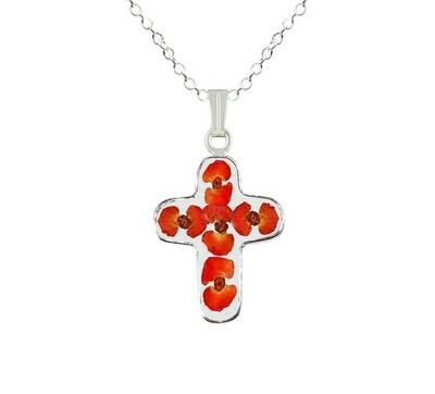 Crown of Thorns Necklace, Medium Cross, Transparent