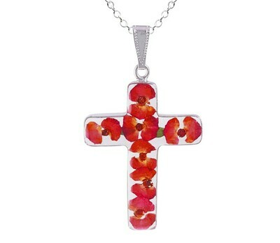 Crown of Thorns Necklace, Large Cross, Transparent
