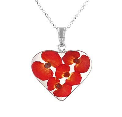 Crown of Thorns Necklace, X-Large Heart, Transparent